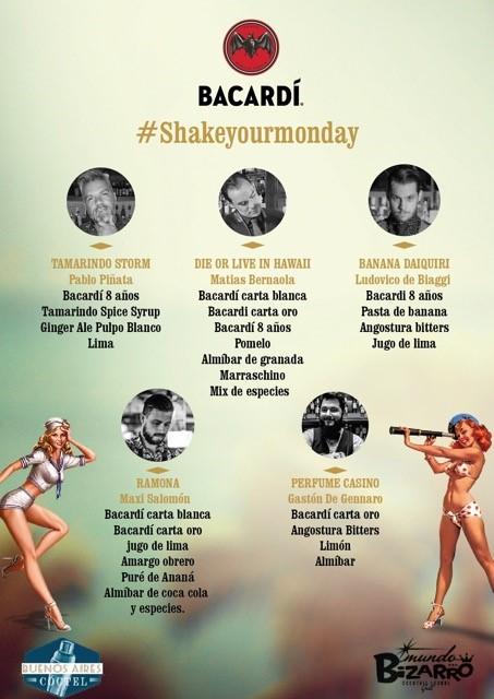 Carta de tragos Mundo Bizarro para ShakeYourMonday by Bacardi