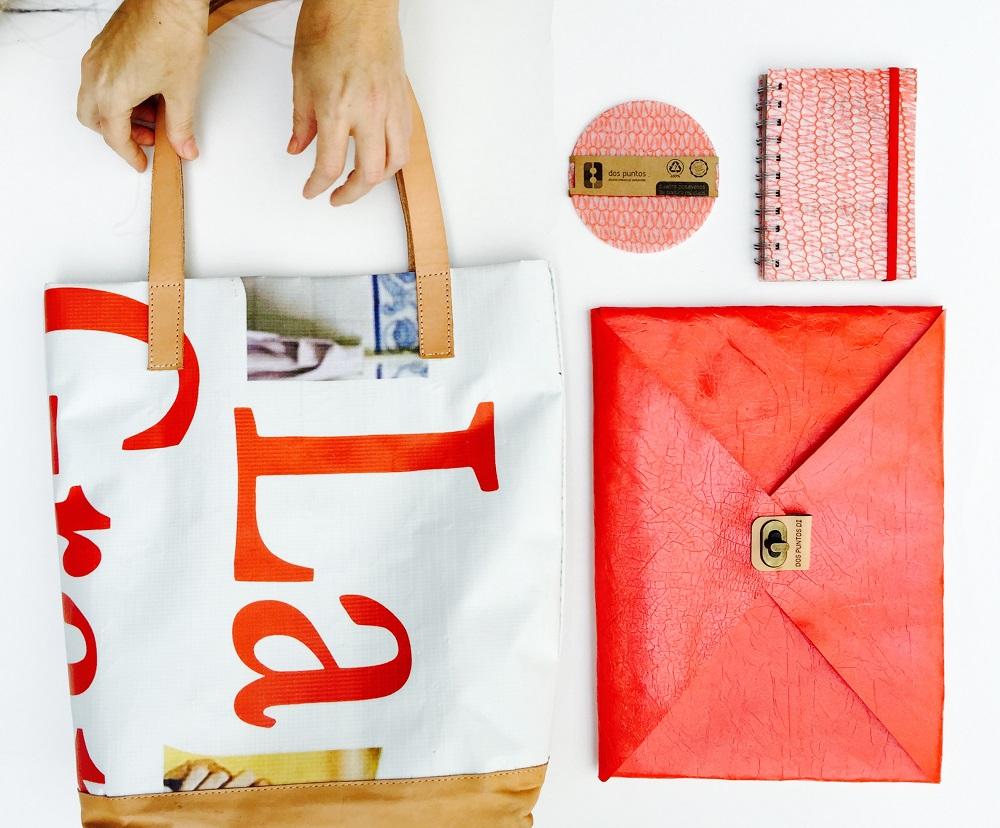 dospuntosdi diseño sustentable puro diseño descartes ecologico loqueva bolsos sobres relojes madera reciclable