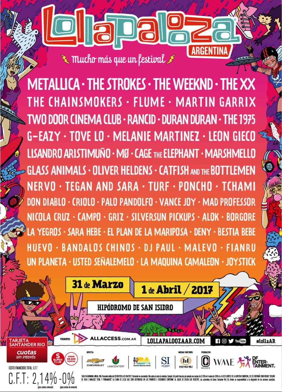 line up lollapalooza argentina 2017