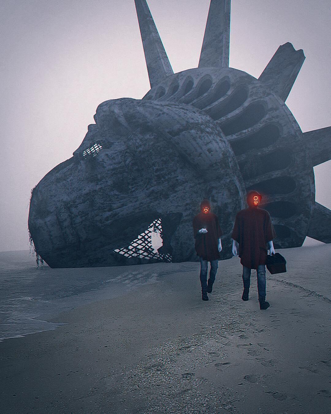 Increíble Cyberpunk y paisajes urbanos pos-apocalípticos por Justin Leduc