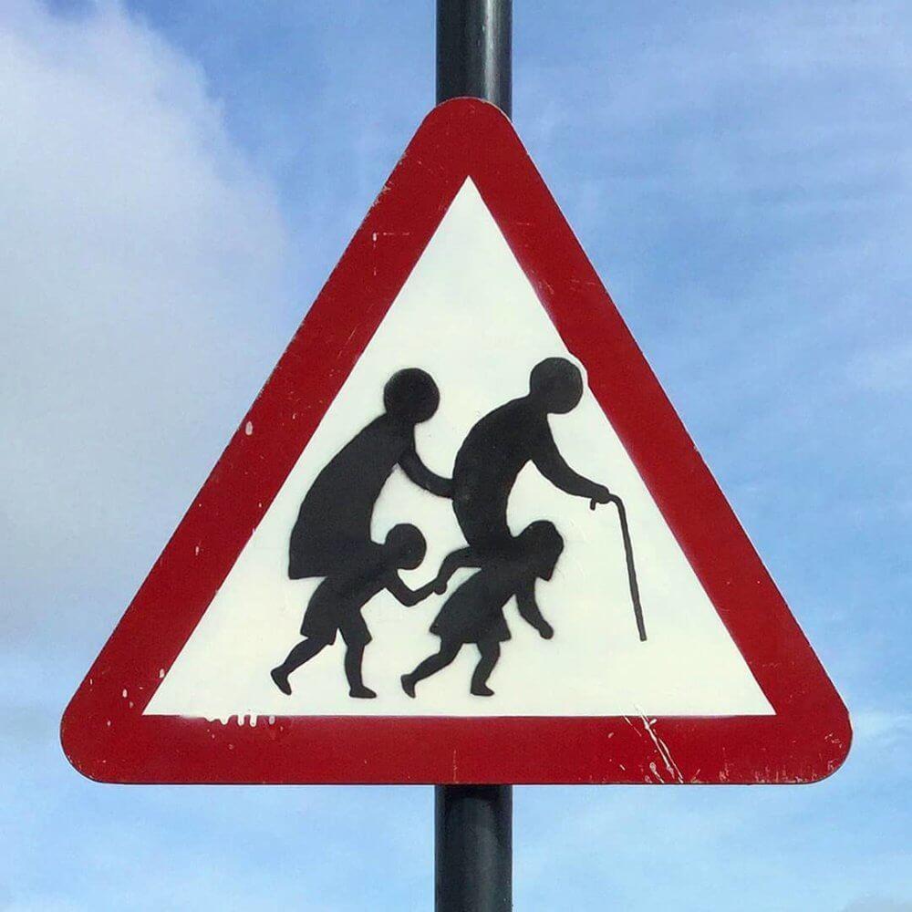 Banksy señal de transito street art  (2)