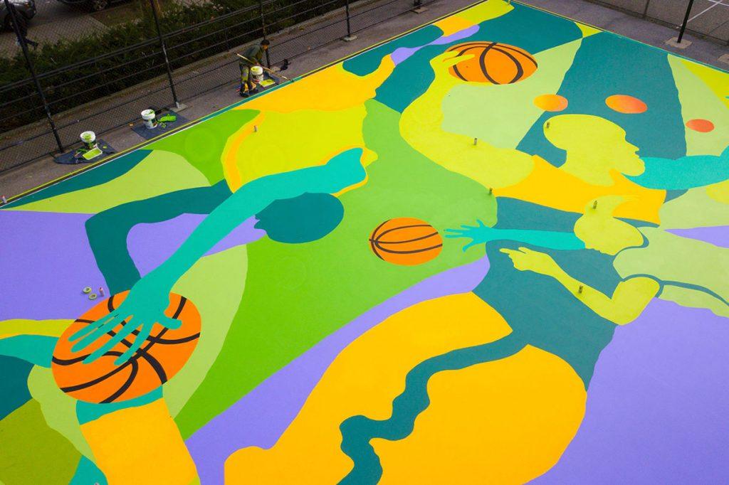 El artista Madsteez intervino una cancha de básquet en Harlem  (5)