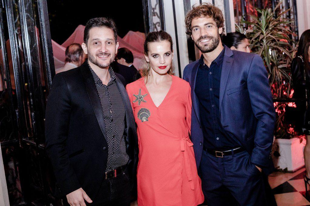 Germán Paoloski, Sabrina Garciarena y Benja Alfonso en el lanzamiento de los nuevos modelos de Alfa Romeo Giulia y Stelvio