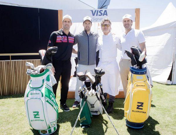 Los Pieres junto a Pablo Massey en el Pro-Am del 113º VISA Open de Argentina