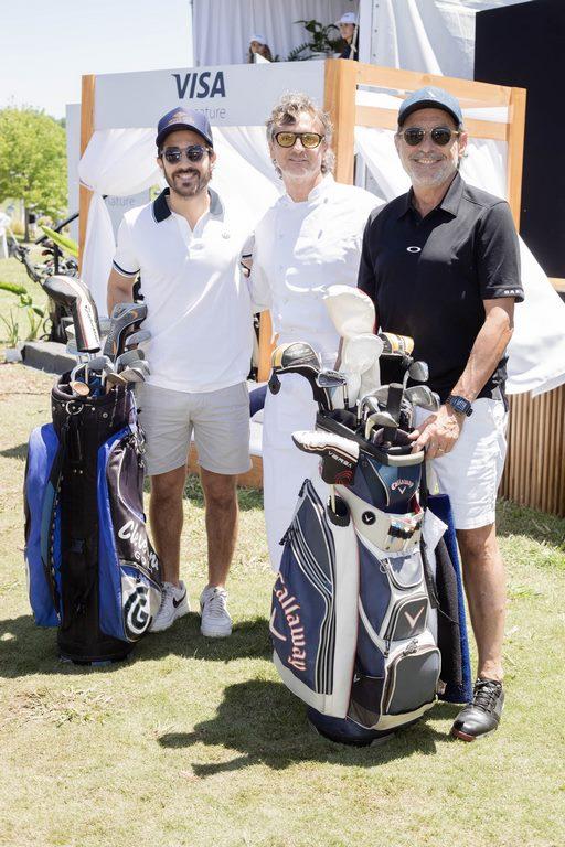 Nicolás y Guillermo Francella junto al chef Pablo Massey en el Pro-Am del 113º VISA Open de Argentina