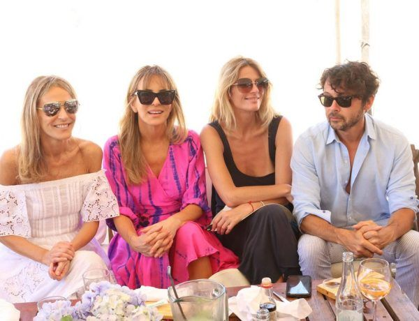 Patricia y Rosella della Giovampaola, Andrea Martinez y Wally Diamante en el almuerzo de PAULE KA en La Huella
