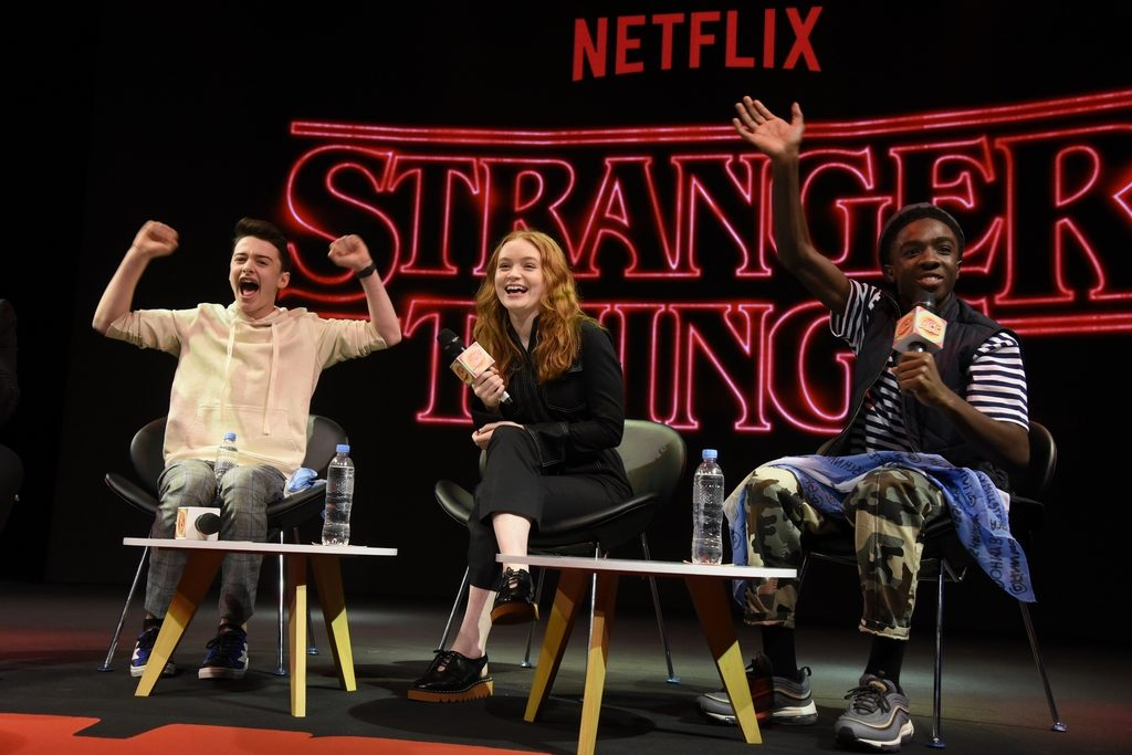 ARCC 2018, NETFLIX. Buenos Aires, December 8th, 2018.  Actor Noah Schnapp, Actress Sadie Sink, Actor Caleb Mc Laughlin (Photo by Lalo Yasky/Getty Images for NETFLIX)