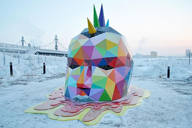 Okuda instala la escultura más al norte del mundo en Yakutsk, Rusia (2)