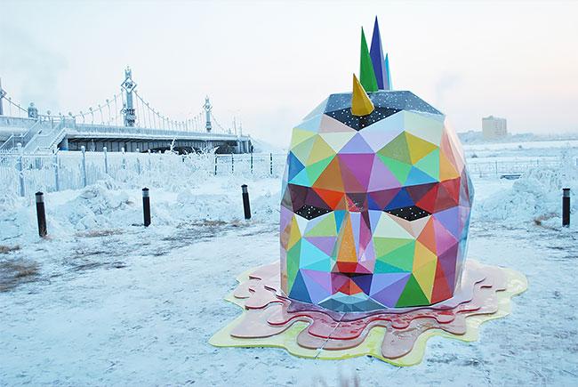 Okuda instala la escultura más al norte del mundo en Yakutsk, Rusia (3)