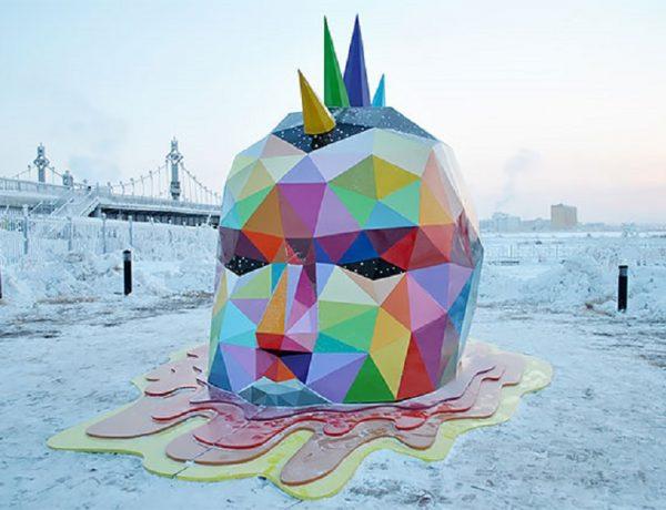 Okuda instala la escultura más al norte del mundo en Yakutsk, Rusia (home