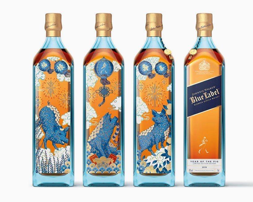 Johnnie Walker etiqueta azul celebra el carácter generoso del cerdo con una botella de edición limitada diseñada por el ilustrador inglés Chrissy Lau. Sus ilustraciones están inspiradas en su herencia china, y son reconocibles al instante por sus líneas delicadas y patrones intrincados.