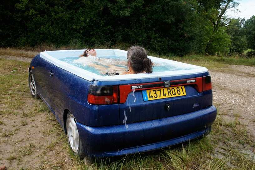 pickup truck jacuzzi Basic benedetto bufalino turns seat ibiza sedan into a jacuzzi