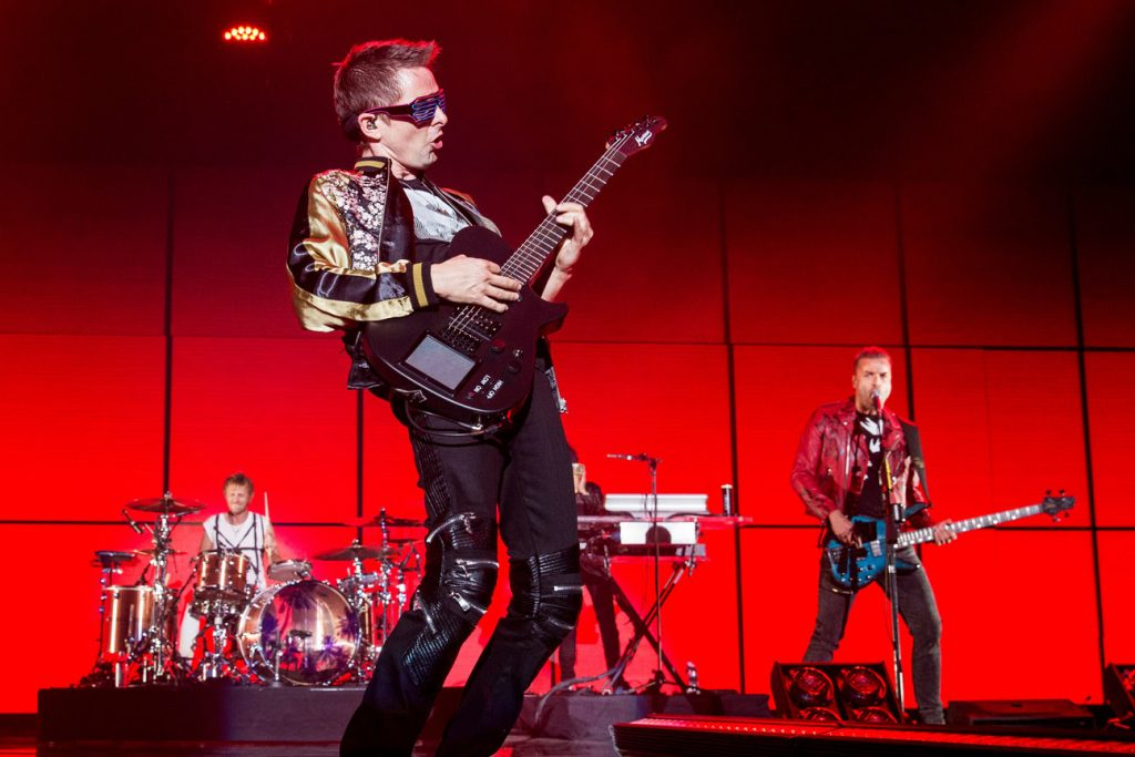 Mandatory Credit: Photo by RMV/REX/Shutterstock (9295342co) Muse - Dominic Howard, Matt Bellamy and Chris Wolstenholme KROQ 106.7 Almost Acoustic Christmas concert, The Forum, Inglewood, California, USA - 09 Dec 2017