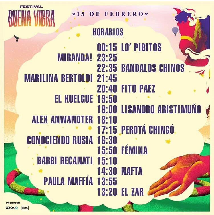 festival buena vibra 2020 horarios
