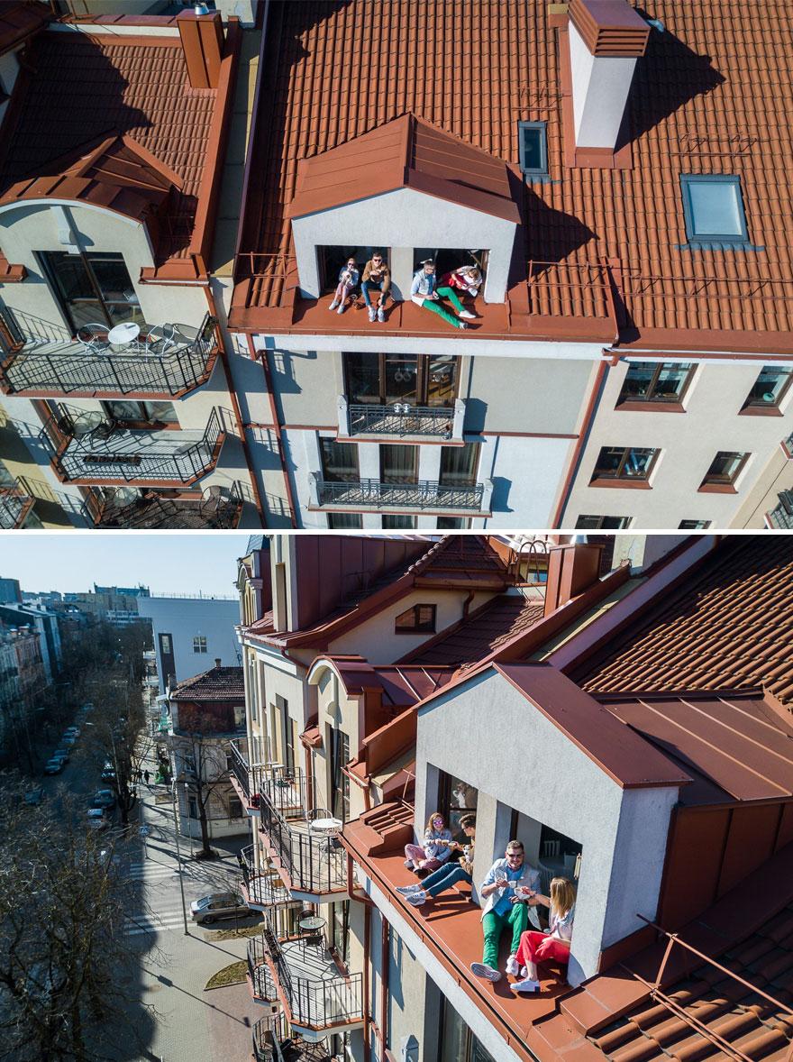 Fotógrafo registra con un drone la cuarentena de sus vecinos  (8)