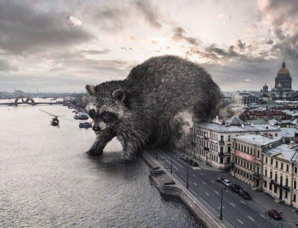 Animales gigantes invaden las calles en estas imágenes de Vadim Solovyov home