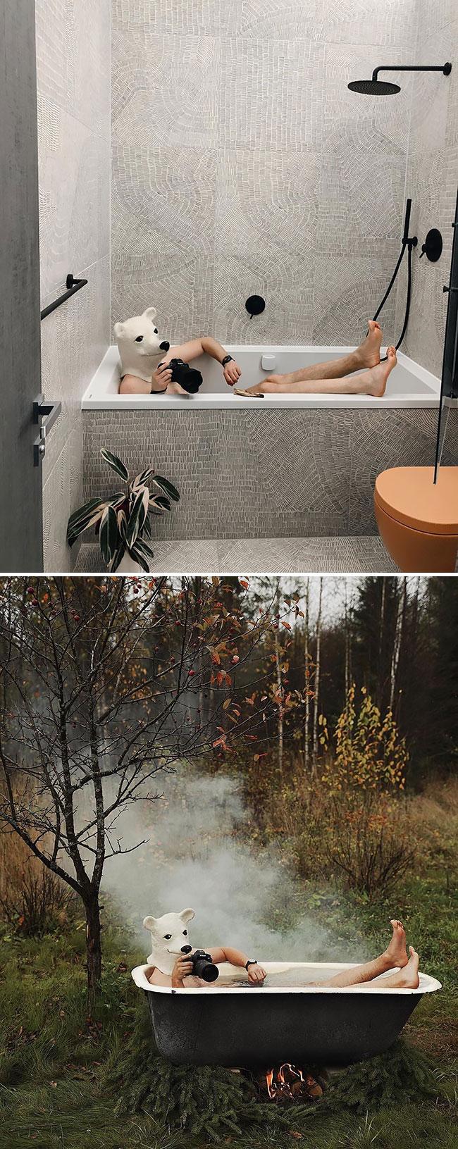 en cuarentena Elnar Mansurov repitió fotos de sus viajes en su departamento (2)