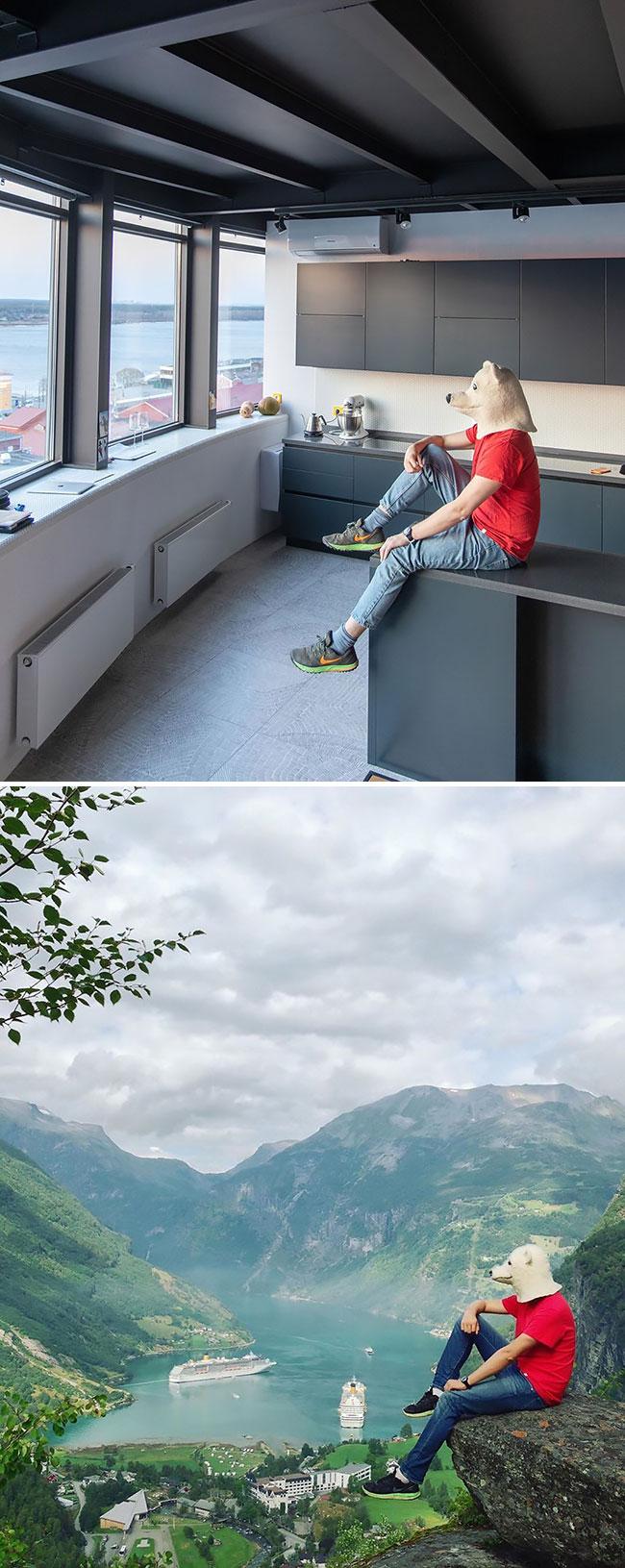 en cuarentena Elnar Mansurov repitió fotos de sus viajes en su departamento  (3)