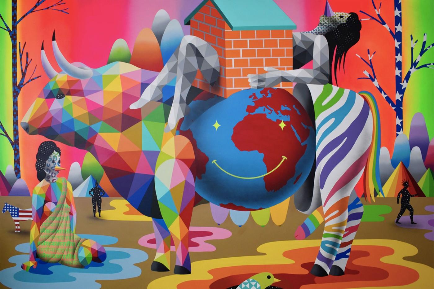 El español Okuda San Miguel presenta su exposición El nuevo amor digital en Los Angeles cuarentena pandemia loqueva (4)
